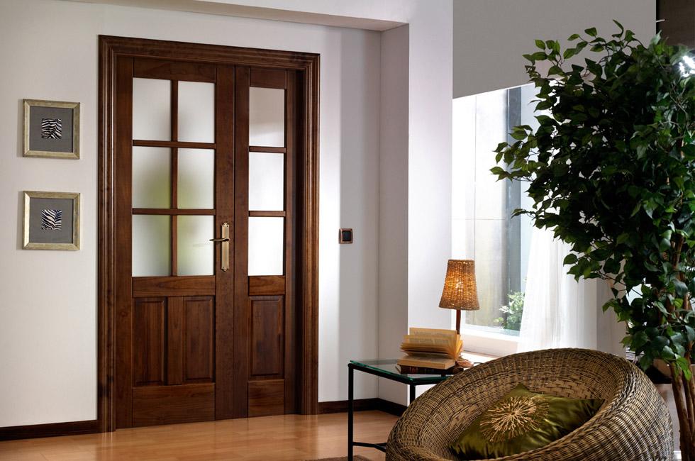 Puertas de madera for Puertas dobles de madera interior